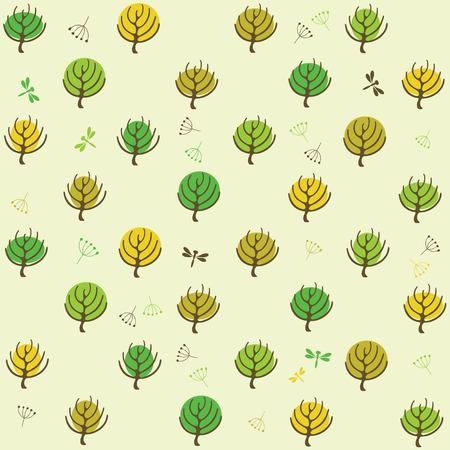 summer trees: Patr�n de �rboles de verano para el dise�o de embalaje de papel, scrapbooking, textiles, sitios