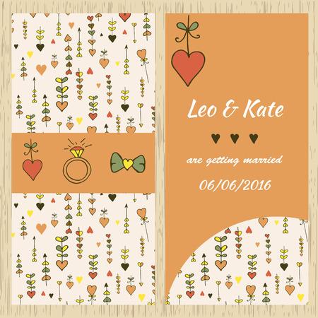 Vorlage für Einladungskarte mit einem Hand gezeichneten Bild. Für Design Einladung, Hochzeitskarten, datum Standard-Bild - 45838757
