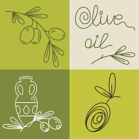 foglie ulivo: Set di icone di olio di oliva per la progettazione cosmetica biologica, la salute alimentare e compagnia. Icone piane Vettoriali