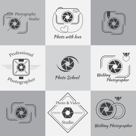 Vector collection of photography templates. Photocam icons. Photography, Badges and Labels Design Elements set. Modern mass media icons. Photo labels.