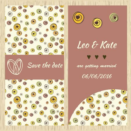 picture card: Template for invitation card with a hand-drawn picture. For design invitation, wedding cards, save the date