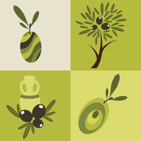 health icons: Set of olive oil icons for design organic cosmetic, health food and company.  Flat icons Illustration