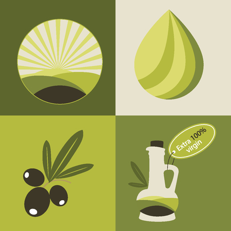 olive leaves: Set of olive oil icons for design organic cosmetic, health food and company.  Flat icons Illustration