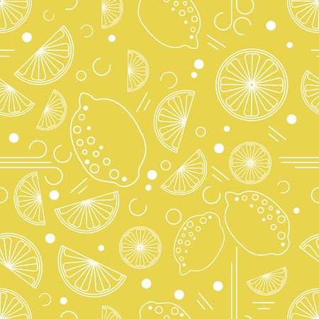 Vector lemon seamless pattern for design packaging,web site, fabric, notebook, scrapbooking. In trendy linear style