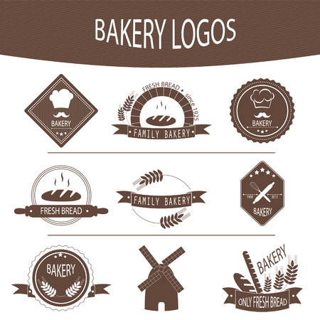bakery: Set of bakery icons, labels, badges for design fresh baked goods