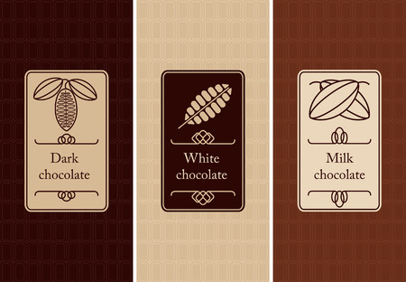 cocoa: Vector set of seamless pattern and labels for chocolate and cocoa packaging.