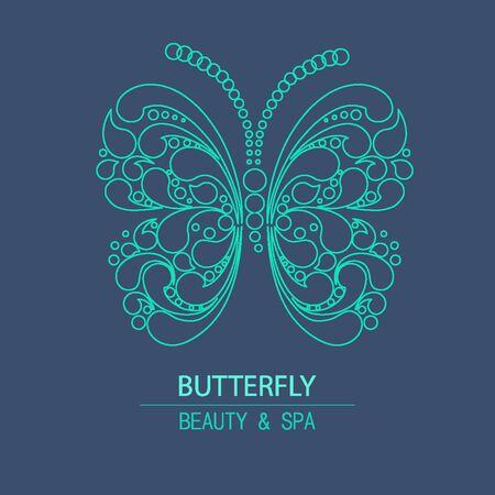 beaut� esthetique: Outline Vector butterfly for design organic cosmetic, beauty company and greeting cards.  Flat icons
