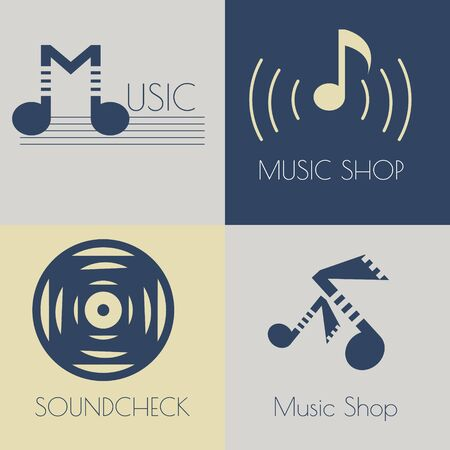 recording studio: Set of music flat icons for design music shops, recording studio, music schools Illustration