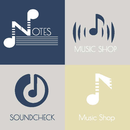 recording: Set of music flat icons for design music shops, recording studio, music schools Illustration