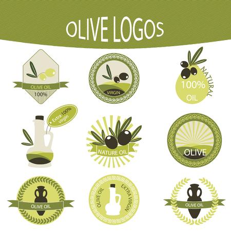 comida rica: Conjunto de insignias de panadería, etiquetas, escudos de aceite de oliva de diseño