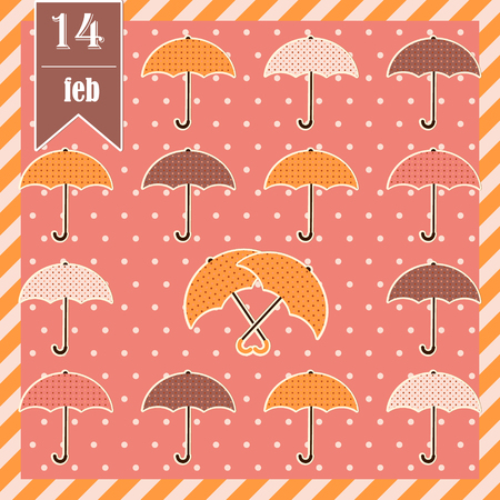 i nobody: Valentines card with umbrellas Illustration