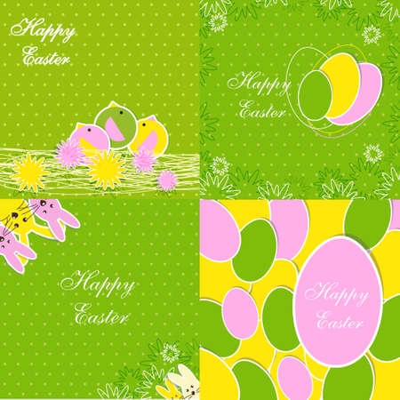 vector backgrounds: Set of Easter Backgrounds for Greeting card, banners, invitations or posters, vector illustration