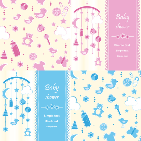 children only: Set of Baby shower background for Greeting card, banners, invitations or posters, vector illustration Illustration