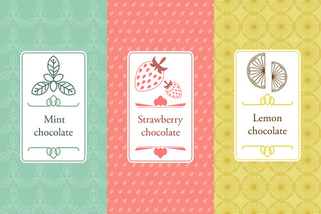 Vector set of seamless pattern and labels for chocolate and cocoa.