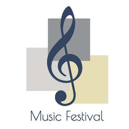 minims: Music logo - treble clef. Logo for music festivals, competitions and concerts Illustration