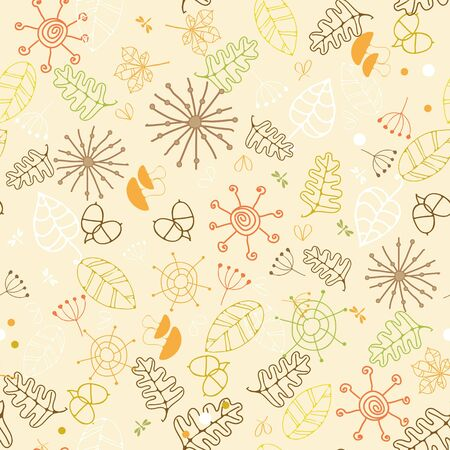 autumn colors: Hand-drawn autumn seamless fir design scrap-booking paper, web sites, books, textile. Autumn colors