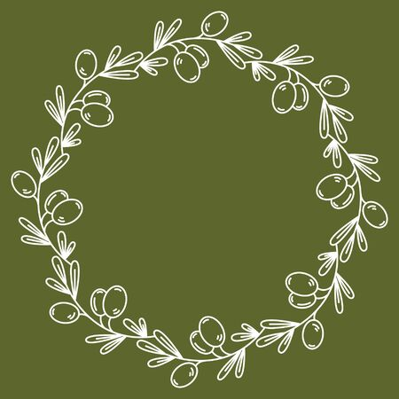 olive wreath: Vector olive wreath isolated on green. For design restaurant menu, organic cosmetic, greeting cards. In midern linear style. There are place for you text