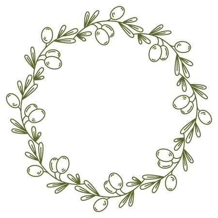 olive wreath: Vector olive wreath isolated on white. For design restaurant menu, organic cosmetic, greeting cards. In midern linear style. There are place for you text. Easy move elements gor youe design