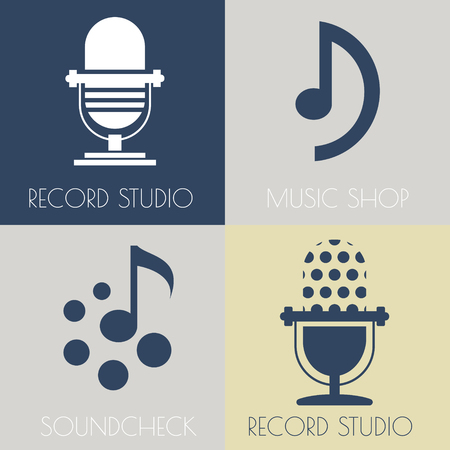 recording studio: Set van muziek platte logo's voor ontwerp muziek winkels, opnamestudio, muziekscholen
