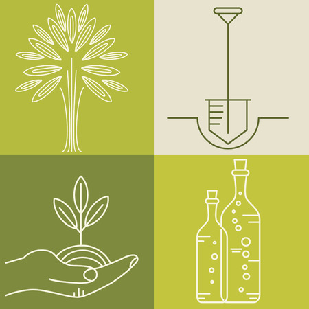 design: Set of olive oil logos for design organic cosmetic, health food and company name.  Flat icons