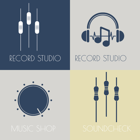 Set of music flat logos for design music shops, recording studio, music schools