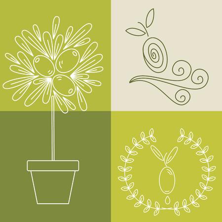 logos de empresas: Conjunto de insignias de aceite de oliva para la cosmética orgánica diseño, la comida sana y el nombre de la empresa. Iconos planos