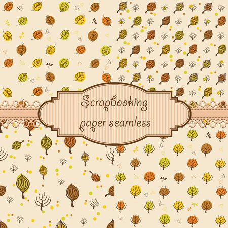 autumn colors: Set of Hand-drawn autumn seamless for design scrap-booking paper, web sites, books, textile. Autumn colors