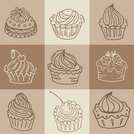 coffee and cake: Hand  drawn seamless with set of cakes. Can use for design  wrapping paper, packaging, scrap-booking, sites and cafe menu