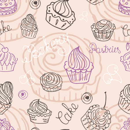 scrap booking: Hand  drawn seamless with set of cakes. Can use for design  wrapping paper, packaging, scrap booking, sites and cafe menu