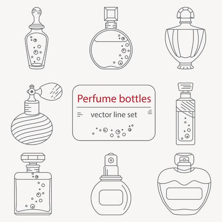 Conjunto de iconos de la botella de perfume de esquema. Puede utilizar para el diseño de envases de papel de envolver, la chatarra de reserva, sitios y perfumerías Ilustración de vector