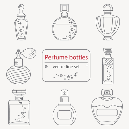 Set van schets parfumfles iconen. Kunnen gebruiken voor het ontwerp inpakpapier verpakking, schroot-booking, sites en parfumwinkels Vector Illustratie