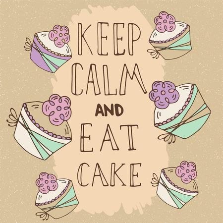 magdalenas: dibujado a mano la cita - Mantenga la calma y coma la torta. Se puede utilizar para el diseño de menú de café, bolsos, camisetas