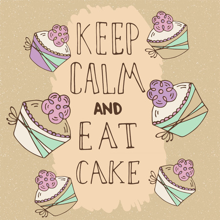 muffin: Hand drawn quote - Keep calm and eat cake. Can use for design cafe menu, handbags, T-shirts