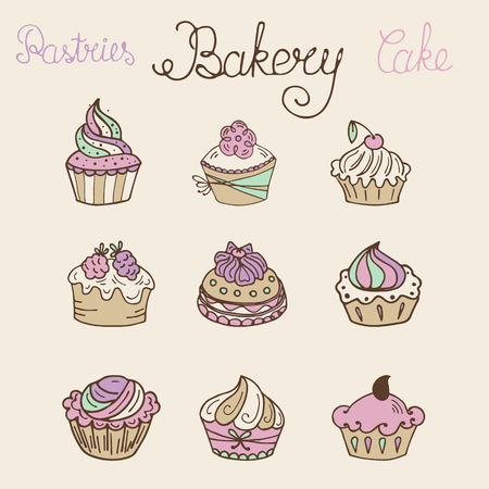 cherries isolated: Set of Hand drawn color cakes. Can use for design wrapping paper packaging, scrap-booking, sites and cafe menu