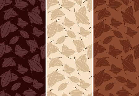 Vector set van naadloze patroon voor chocolade en cacao verpakking. Stock Illustratie