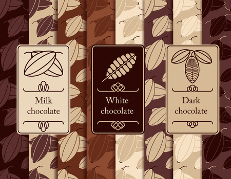cacao: Vector set of seamless pattern and labels for chocolate and cocoa packaging.