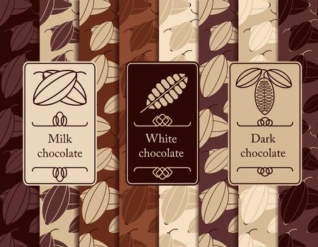 Vector set van naadloze patroon en de labels voor chocolade en cacao verpakking. Vector Illustratie