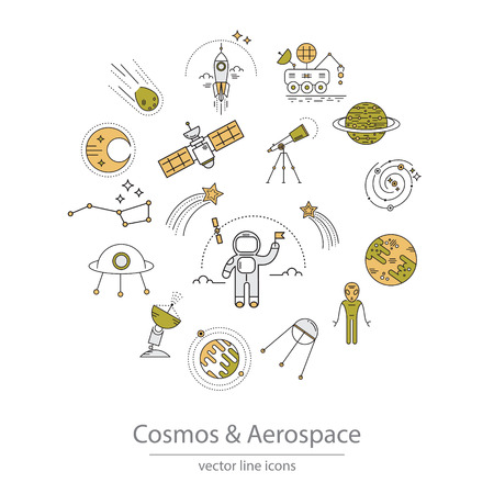 sputnik: Set of cosmos and aerospace icons made in modern line style vector