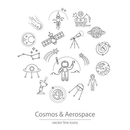 aerospace: Set of cosmos and aerospace icons made in modern line style vector