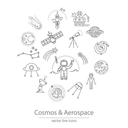 kosmos: Set von Kosmos und der Luft- und Raumfahrt-Ikonen gemacht in der modernen Linienstil Vektor