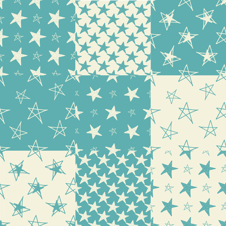 star pattern: Set of hand drawn stars seamless background. Vector illustration. For design of cloth, scrap booking paper, cards