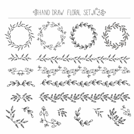 corner: Set of hand drawn floral design elements -   corners, frames, curls, wreaths. Easy move any element.