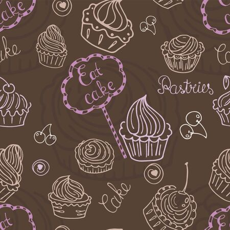 cakes and pastries: Hand  drawn seamless with set of cakes. Can use for design  wrapping paper, packaging, scrap-booking, sites and cafe menu
