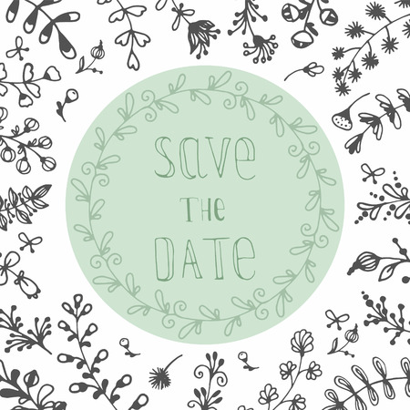 floral elements: Hand draw invitation card - save the date