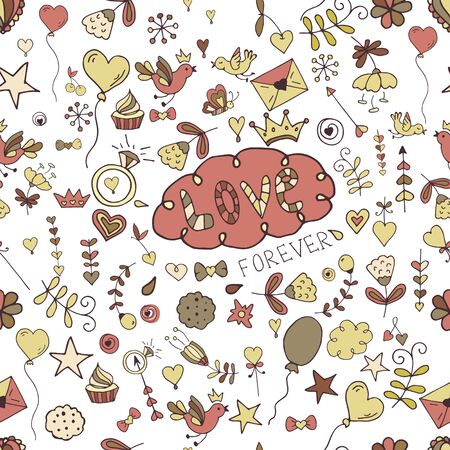 Seamless hand-drawn valentine pattern for design sites, cards and wrapping