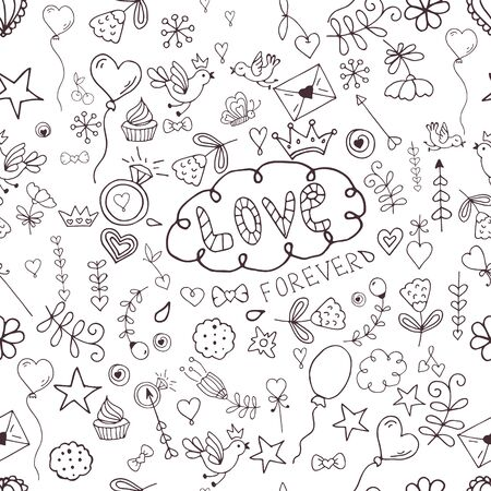 love wallpaper: Seamless hand-drawn valentine pattern for design sites, cards and wrapping