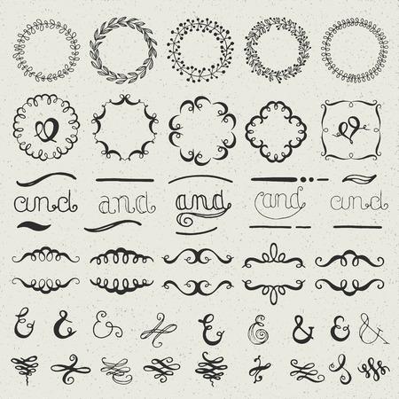 Set of hand drawn lettered design elements - ampersands, doodles, frames, wreaths.
