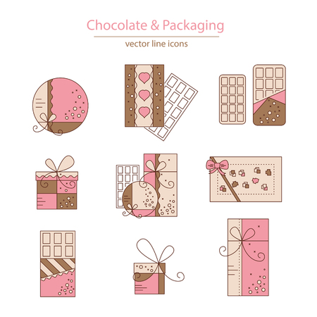 Set of chocolate and packaging icons made in modern line style vector