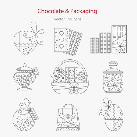 chocolate box: Set of chocolate and packaging icons made in modern line style vector