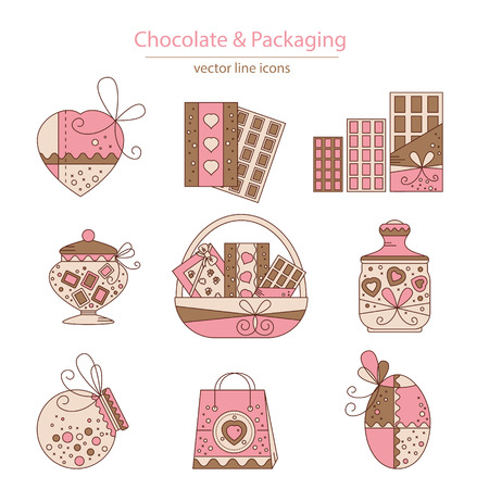 brawn: Set of chocolate and packaging icons made in modern line style vector